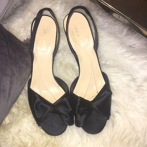 Black satin Kate spade pep toe sling backs